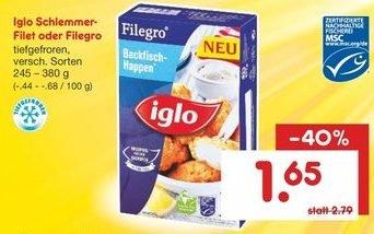 (Netto-MD bundesweit) Iglo Schlemmerfilet oder Filegro, 245-380 g, für 1,65 Euro (statt 2,79€) am 14. 11. 2015
