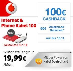 Kabel Deutschland: Internet & Phone 100 DSL / Kabel mit 100€ Cashback + €50 Amazon.de-Gutschein + Mietgerät FRITZ!Box 6360 +  0 € Bereitstellungsentgelt