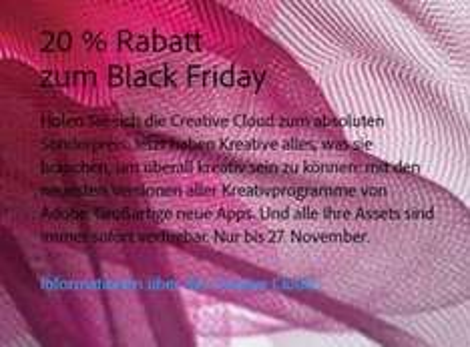 Adobe Creative Cloud Black Friday - 20% auf alle Pakete