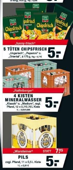 Lokal: Edeka Zurheide Oberhausen [+Gladbeck]: Warsteiner 11*0,5 5,00€ , 5 Tüten Funnyfrisch Chips für 5 €
