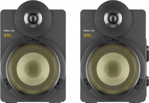Philips BTS3000G Kabellose Studio-Lautsprecher mit Bluetooth (30 W RMS, aptX, AAC, Bassreflex-System)