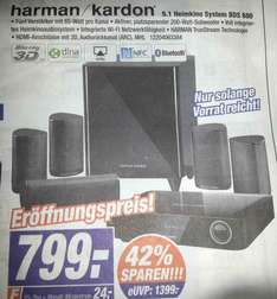 [DARMSTADT/BAD KREUZNACH/HOFHEIM-WALLAU/RAUNHEIM/NASTÄTTEN] Expert Klein: Harman Kardon 5.1 Heimkino System BDS 680 mit integriertem 3D Blu-ray Player für 799€ (Idealo:1275€)