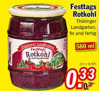 [ZIMMERMANN] Thüringer Landgarten Festtags Rotkohl 580ml für nur 0,33€
