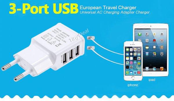 3x USB Ports 5V 2.0A Ladegerät für Smartphone & Co oder 4,26€ mit Versand aus DE @tinydeal