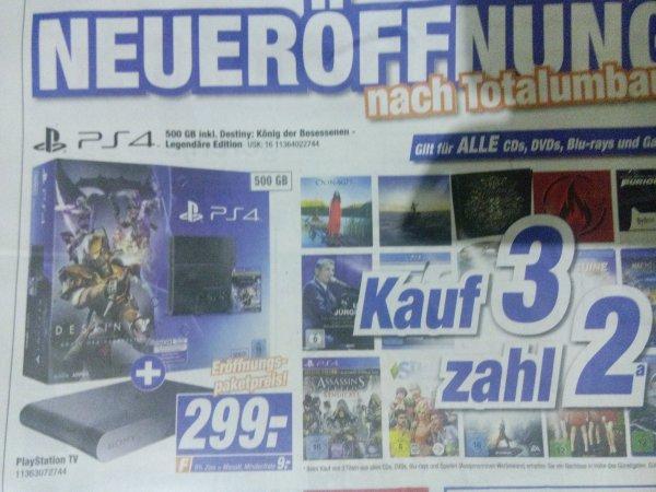 LOKAL PlayStation 4 500GB neuste Rev. +  Playstation TV + Destiny- KDB