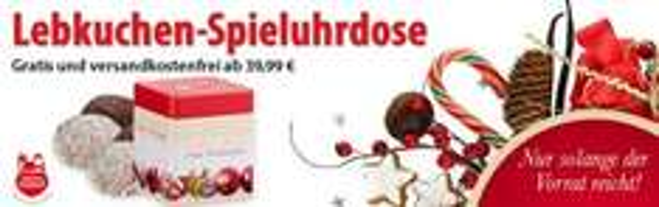 Gratis Spieluhrdose und Lebkuchen zu Ihrer Bestellung - MBW 39,99€ - Voelkner