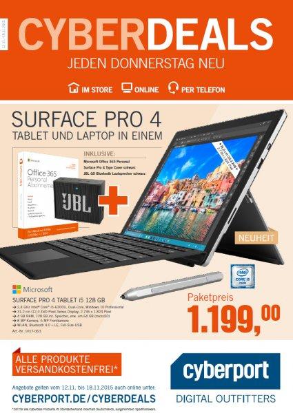 ONLINE Surface Pro 4 Tablet i5 128 GB + O365 Personal + TC4 schwarz + JBL (bis zu 147,99 € sparen)