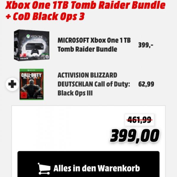 XBOX ONE 1 TB (Tomb Raider Bundle+Black Ops 3) für 399€ [Mediamarkt.de]