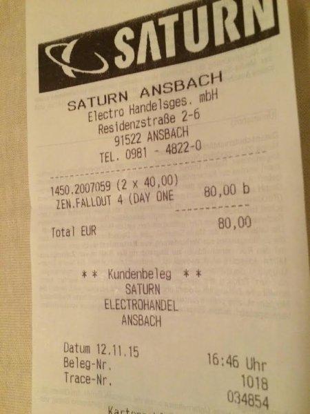 [Lokal Saturn Ansbach] Fallout 4 (PC) + Soundtrack für 40€