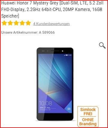 Notebooksbilliger (nur via Finanzierung) - Huawei Honor 7 Mystery Grey [Dual-SIM, LTE, 5.2 Zoll FHD-Display, 2.2GHz 64bit-CPU, 20MP Kamera, 16GB Speicher]