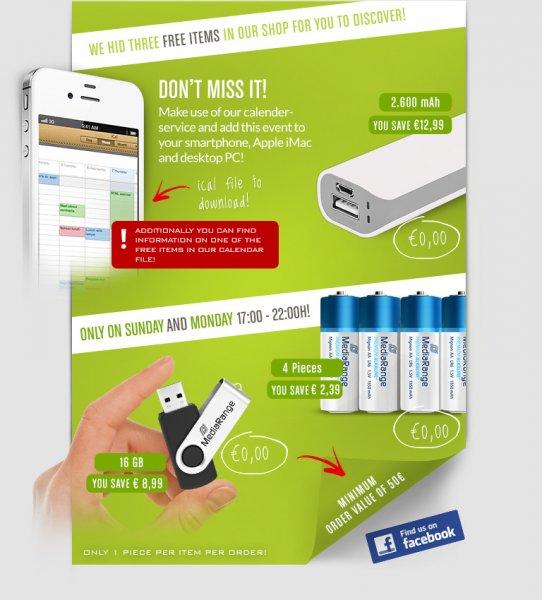 [Mindestbestellwert: 50,00 €] Kostenlose Powerbank, USB-Stick und Batterien bei Nierle.com am So. & Mo. zu bestimmten Zeiten