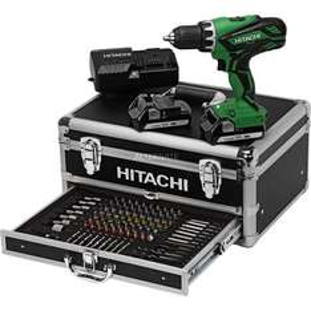 "Hitachi Akkubohrschrauber-Set + Koffer + 100tlg.-Bit-Set ""DS 18DJL"" für 174,85€ @ ZackZack"