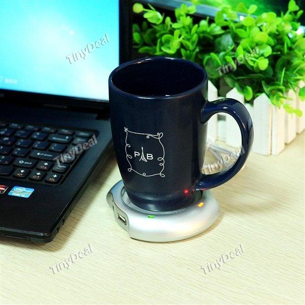 4-Port USB-Hub Office Kaffee Tee Tassenwärmer Heizung Pad Matte 2.5W 5V @tinydeal
