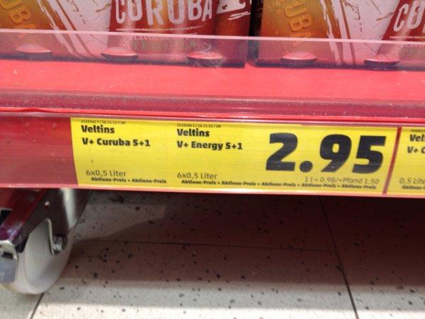 [Penny] Veltins V Plus Curuba oder Energy 6 x 0,5 l für 2,95 € (0,98 € / Liter) ab 16.11.