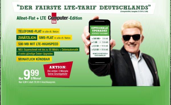[Smartmobil] Allnet und SMS Flat, 500 MB LTE, 3 Monate ohne GG, 4,99 AG, monatl. kündbar für 9,99/Monat
