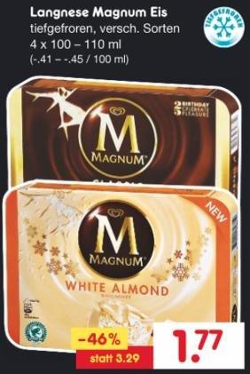 [Netto-MD] Lagnese Magnum Eis (4 Stk.) versch. Sorten ab 19.11.