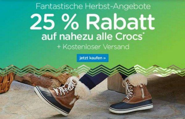 Crocs 2x 25% Rabatt und kostenloser Versand