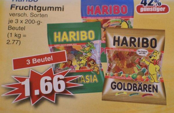 (Lokal) Haribo Fruchtgummi verschiedene Sorten 3 Beutel für 1,66 € = 0,56 € je Packung bei Edeka in Alzenau