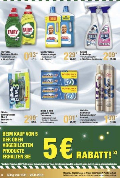 [Offline Metro] 5 Produkte nehmen, 5 € Rabatt- Fairy, Meister Proper, Antikal, Gillette Einweg, Blend-a-med, Wellaflex