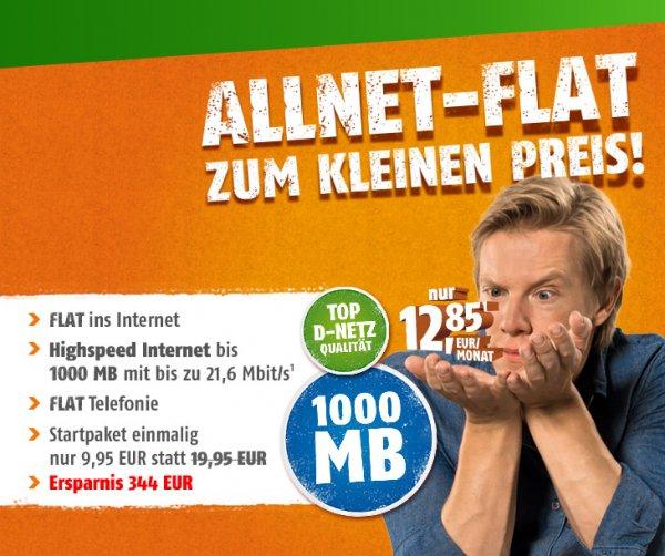 Klarmobil (Telekom-Netz) - All Net Flat mit 1GB UMTS für - 12,85 € im Monat