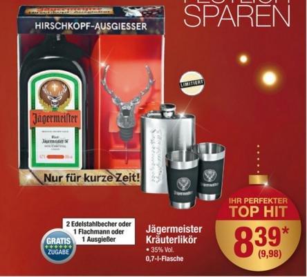 Jägermeister + Zugabe (Flachmann, Hirschkopf-Ausgießer oder 2 Edelstahl-Becher) für 9,98 € brutto (8,39 € netto) @ Metro (19.11. - 25.11.)