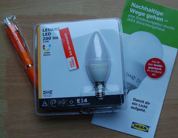 [LOKAL?]kostenloses LEDARE LED E14 Leuchtmittel bei IKEA Hanau durch Einrichtungstour