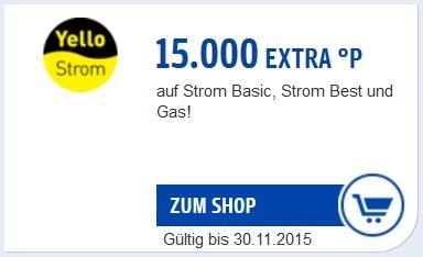 [PAYBACK] 15.000 Extra-Punkte für einen Strom- oder Gasvertrag mit YELLO STROM, somit bis zu 30.000 Punkte möglich (300 Euro)