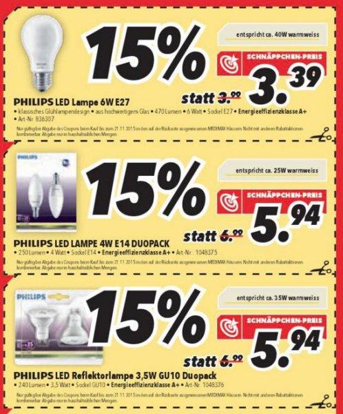 @Medimax, Philips LED Lampen, z.B. 2er Pack GU10 Lampen für 5,94€ Stückpreis also 2,97€, 6W E27 Lampe 3,39€, E14 2er Pack 5,97€