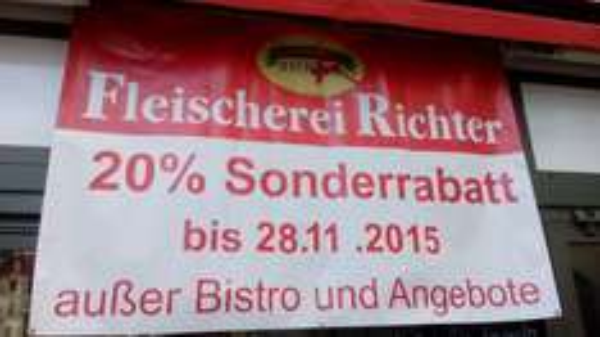 Lokal Zwickau 20% Rabatt bei Fleischerei Richter