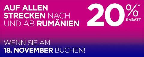 Wizz Air 20% auf Flüge nach und von Rumänien (nur am 18.11.2015)