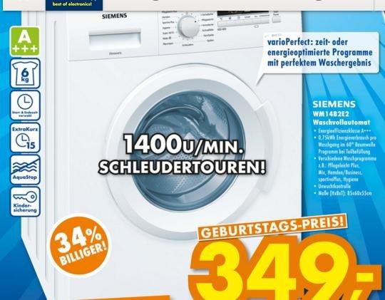 [Euronics Ratingen] Siemens Waschmaschine WM14B2E2 A+++ 6 kg 1400 u/min, inkl. Lieferung, idealo ab €459 inkl.VK