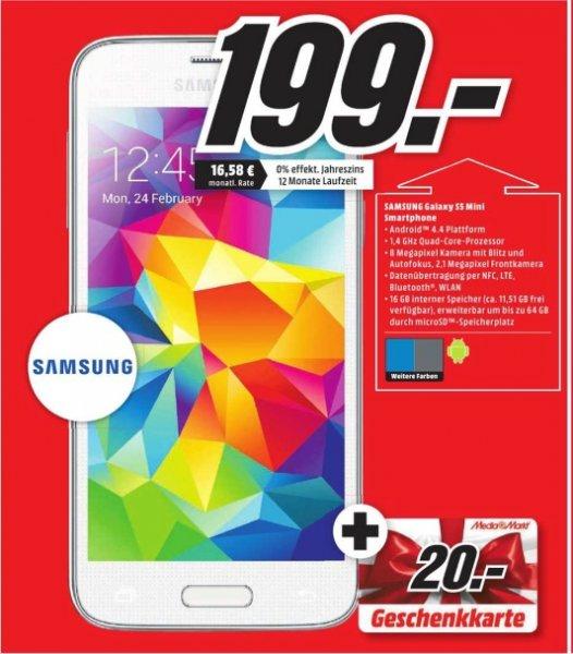 [Lokal Mediamarkt Chemnitz] Samsung Galaxy S5 Mini in Weiß,Schwarz und Blau für 199,-€ + 20,-€ Geschenkkarte