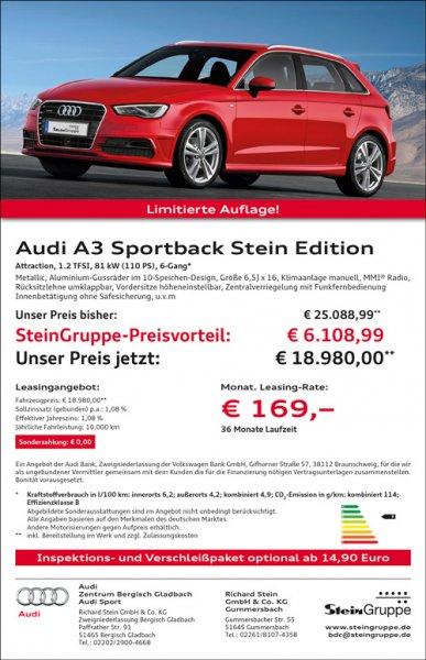 Audi A3 Sportback Kauf oder Leasing netto 142 € / 36 Monate (3660 EUR Preisvorteil)