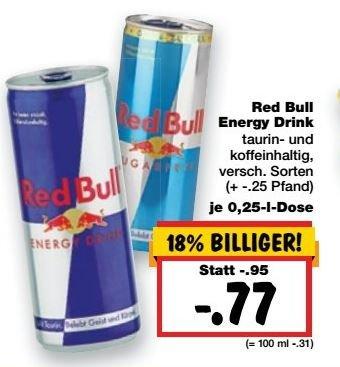 [Kaufland] Red Bull - verschiedene Sorten (0,25l) für 0,77€ zzgl Pfand