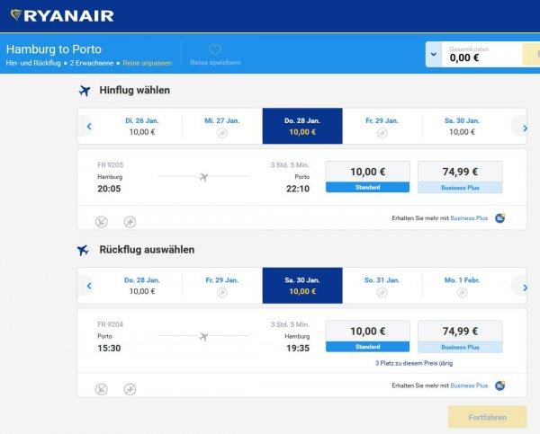 Hamburg-Porto für 20 € return im Januar mit Ryanair Aktion