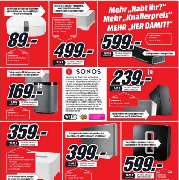 Gesamtes Sonos Sortiment im Angebot bei Media Markt Flensburg Knallerpreise! Playbar 599€, Play1   169€