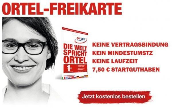 ortel Mobile Prepaid Karte / 7,50 € Startguthaben für 0€ [wieder verfügbar]