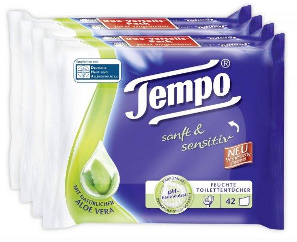 Amazon Prime Preisfehler - Tempo feuchte Toilettentücher (4x42 St.) für 3,45€ inkl. Lieferung (Sparbo: 3,28€)