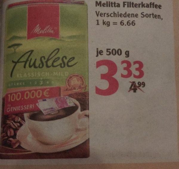 Globus (regional ) Melitta Kaffee 500gr. für 3,33 ab 23.11.2015
