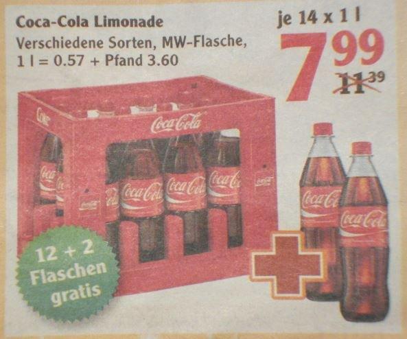 [Globus] Coca Cola Limonade pro Kasten (12 x 1Liter) + 2 Flaschen gratis für 7,99 Euro.