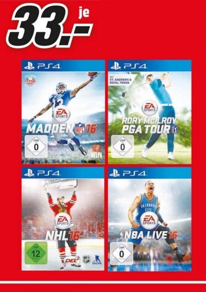 (Lokal) PS4 Games = Madden NFL16,NHL16,NBA Live16,PGA Tour für 33€ @ Mediamarkt Neuss & Siegen