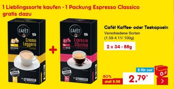 @ Netto Marken-Discount / Netto Online Shop I Cafet kaffee Kapseln (für Cremesso) I 32 Stück für 2,79   (1 st. - 0,09€) VERSANDKOSTENFREI