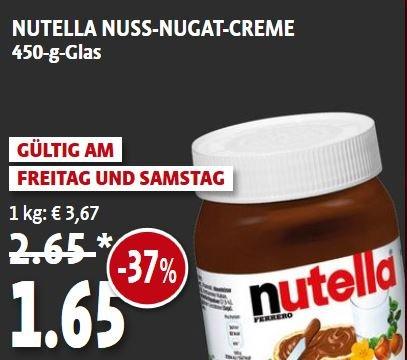 Nutella @Kaiser´s für 1,65€/450g (3,67€/kg)