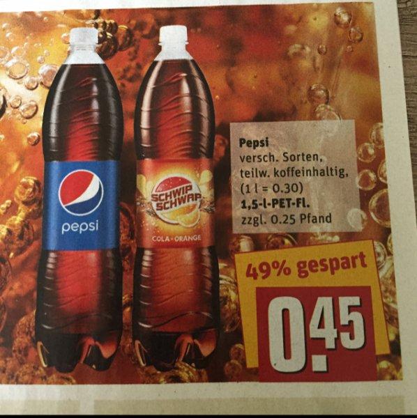 Pepsi/Schwip Schwap 1.5l 0.45€ nur REWE CENTER ab 23.11.