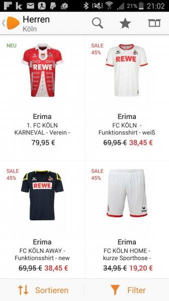 [Zalando] - 1.FC KÖLN Trikots  (Heim & Ausweich) für 38.45 €