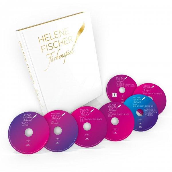 Helene Fischer - Farbenspiel - Der limitierte Bildband mit den größten Momenten von 2013 bis 2015, 4CDs+2DVDs+Blu-ray - (CD + DVD Video) für 54 € @ Saturn