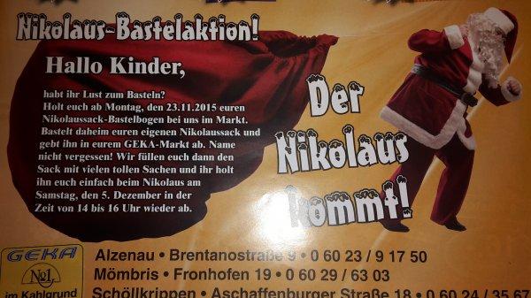Nikolaussack-Bastelaktion (mit Befüllung)  für Kinder  bei Edeka in Alzenau