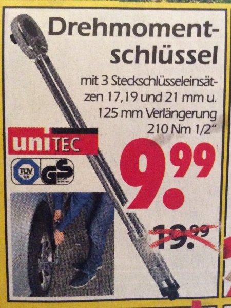 [Lokal Wreesmann] UniTEC Drehmomentschlüssel mit 3Steckschlüsseleinsätzen und Verlängerung für 9,99€