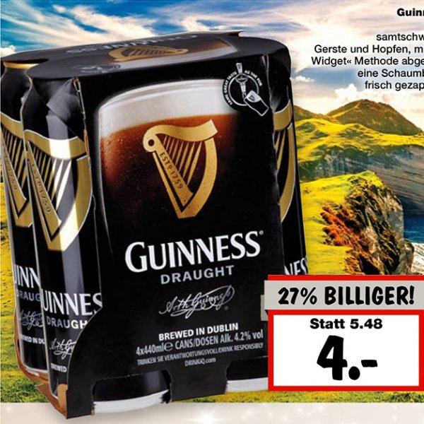 [Kaufland bei Rostock] Guinness Draught 4,2%, 4x440 ml Dosen Guinness zum Bestpreis von nur 4,00 €