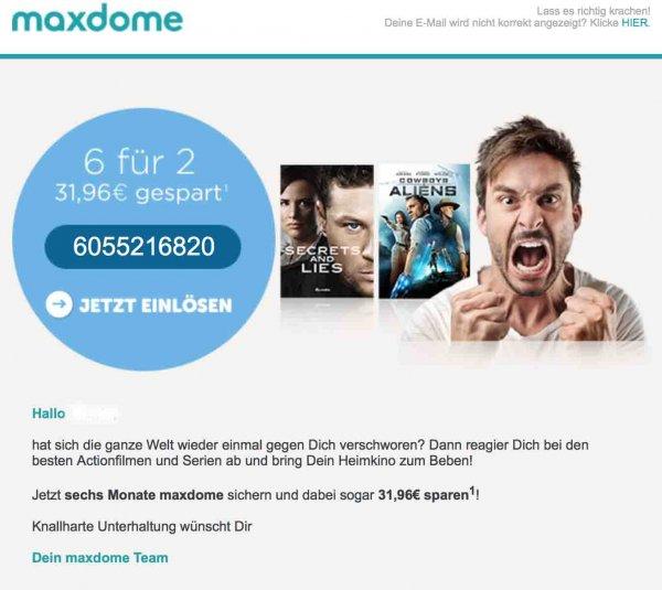 Maxdome für 2,66 €/Monat bei 6 Monate Laufzeit